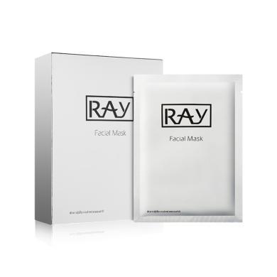 【支持購物卡】【2盒裝】泰國RAY蠶絲超薄面膜貼 清潔補水 曬后修復 收縮毛孔(銀色包裝)10片/盒 左木版