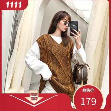 七格格背心针织女外穿韩版学生秋冬季2019新款宽松中长款毛衣马夹