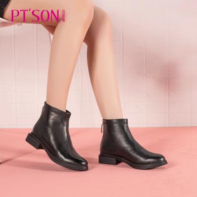百田森商场同款马丁靴女短款2019新款圆头小短靴女潮PYQ82160