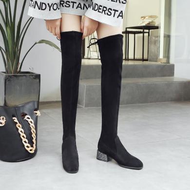 ZH冬季新R長筒靴女同款小辣椒過膝靴網紅靴子韓版百搭瘦瘦靴