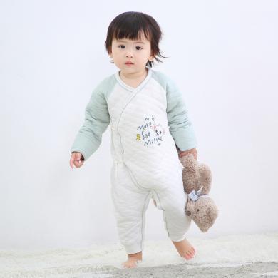 班杰威尔纯棉秋冬连体衣宝宝保暖内衣加厚婴儿爬服哈衣