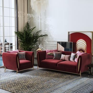 慕梵迪 沙發 現代輕奢 實木框架+高回彈海綿+布+五金腳 XQ051 沙發