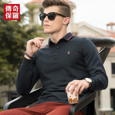 传奇保罗长袖Polo衫男 2019秋装新款中年T恤衫男士商务休闲t恤T18Q612