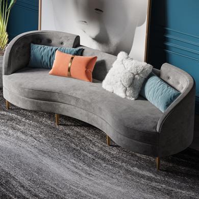 奢恩 沙發 現代輕奢 實木框架+高回彈海綿+絨布+五金腳 S-25 沙發