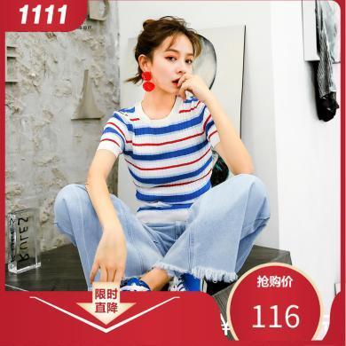 七格格條紋打底針織衫女裝2019新款春季時尚韓版圓領修身毛衣上衣