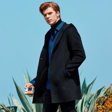 才子男裝 秋季新款男士大衣純色毛呢連帽外套中長款風衣商務大衣 39197E0570