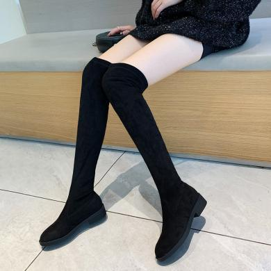 ZHR小個子過膝長靴子女秋款長筒百搭ins網紅瘦瘦靴高筒彈力靴