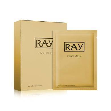 【支持购物卡】泰国RAY蚕丝超薄面膜 深层修复去痘印抚平细纹 金色 10片盒(左木版)