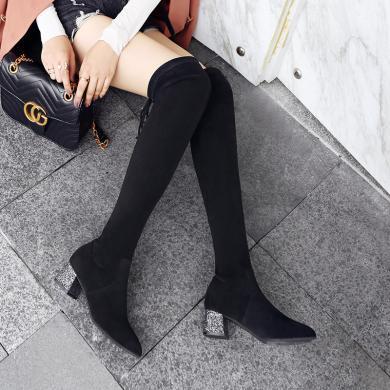ZHR網紅長筒靴子女秋冬季新款小辣椒過膝靴同款粗跟瘦瘦靴潮