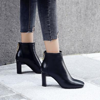 ZHR小短靴子女潮秋冬季新款扁粗跟INS網紅單靴韓版百搭踝靴