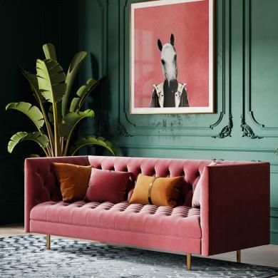 奢恩 沙發 現代輕奢 實木框架+高回彈海綿+絨布+五金腳 S-04 沙發