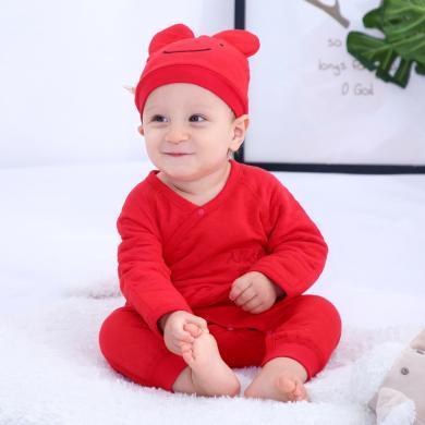 班杰威尔婴儿衣服冬装男女宝宝爬爬服新生儿秋冬季红色连体衣新年喜庆哈衣