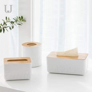 佐敦朱迪時尚紙巾盒 北歐時尚簡約紙巾筒多功能桌面木質紙巾收納盒