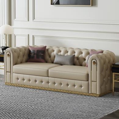 慕梵迪 沙发 现代轻奢 实木框架+高回弹海绵+皮+五金脚 S-053沙发