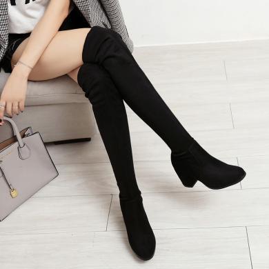 ZHR高筒过膝靴子女秋冬季新款百搭粗跟ins网红长靴百搭瘦瘦靴