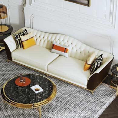 慕梵迪 沙發 現代輕奢 實木框架+高回彈海綿+皮+五金腳 S0036 沙發