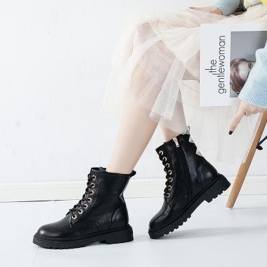 新款牛皮英伦风休闲短靴系带潮流百搭马丁靴学院风女靴MN-A9529