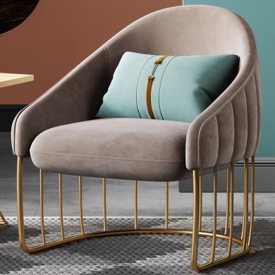 奢恩 沙發 現代輕奢 實木框架+高回彈海綿+絨布+五金腳 S-37/S0020 單人位