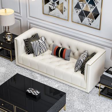 慕梵迪 沙发 现代轻奢 实木框架+高回弹海绵+皮+五金脚 D1003沙发