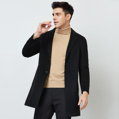 才子男裝 2019秋季新款羊毛大衣青年商務休閑大衣純色修身雙面尼大衣外套男39197E0270