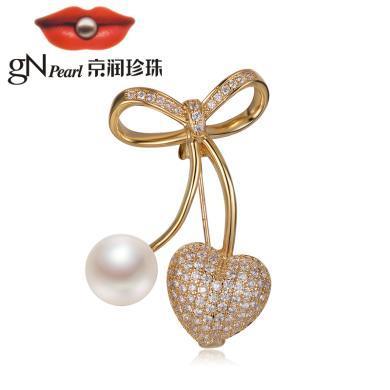 京潤珍珠 車厘子 銅合金鑲淡水珍珠胸針  白色 10-11mm饅頭形