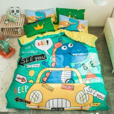 【下单减30/50元】VIPLIFE精梳全棉卡通四件套 纯棉床单被套