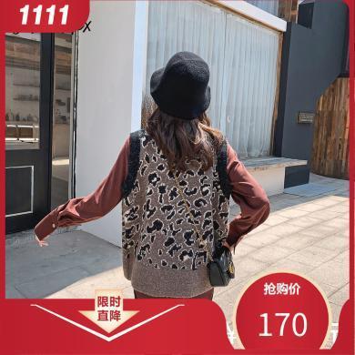 七格格针织马甲女2019新款冬季韩版宽松毛衣背心中长款外穿马夹