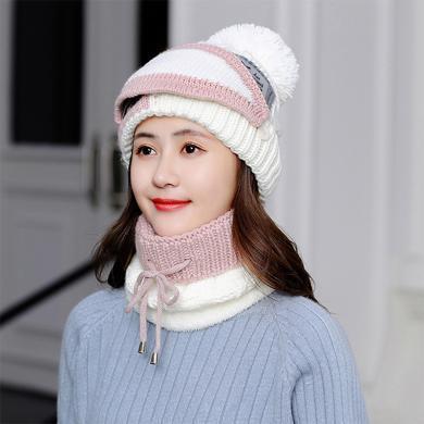 帽子女冬季韓版毛線帽加厚加絨保暖口罩圍脖三件套護耳針織騎車帽FA050