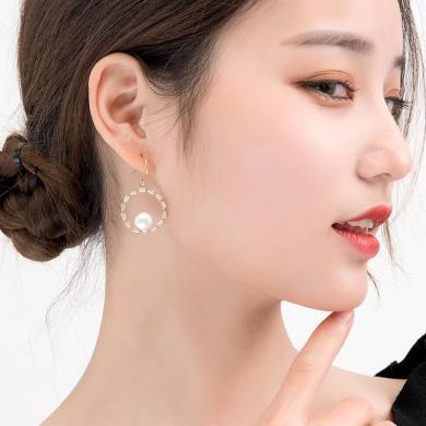 如熙 nuheel 韓版簡約大圓圈珍珠圓環少女氣質百搭耳釘