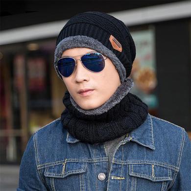 【帽子+圍脖】韓版秋冬季加絨加厚保暖針織毛線帽男士戶外套頭帽FA039