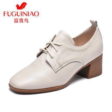 富貴鳥女鞋英倫小皮鞋女復古牛津鞋方頭深口粗跟單鞋 P99A233C