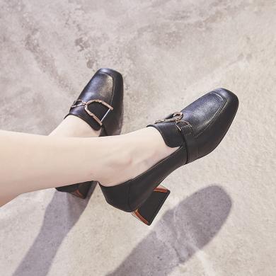 ZHR秋季新款高跟百搭奶奶鞋粗跟简约单鞋仙女网红复古女鞋