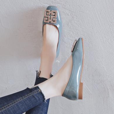 ZHR秋新款溫柔風奶奶鞋瑪麗珍鞋方頭水鉆韓版百搭平底單鞋女