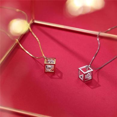 DTOTO S925純銀立體方形吊墜鎖骨鏈個性百搭魔方幾何鏤空方塊項鏈女