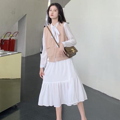 meyou 秋季新款时尚气质系带领连衣裙纯色百搭针织马甲女