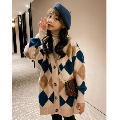 謎子 親子裝女童毛衣外套秋冬新款童裝針織開衫中大童線衣休閑外套