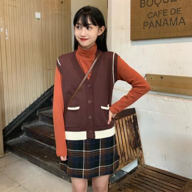 meyou 高领打底T恤女秋冬新款针织马甲毛衣时尚格子半身裙