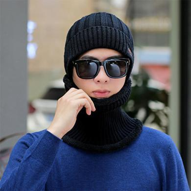 【帽子+围脖】韩版秋冬季加厚保暖针织毛线帽男士户外套头帽FA038