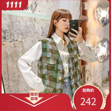 七格格冬季马甲女2019新款韩版格子外套无袖v领背心外穿学生上衣