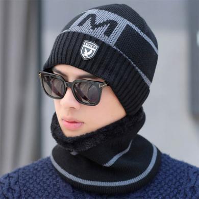 【帽子+圍脖】冬季男士帽子加絨加厚保暖針織帽秋冬青年FA051