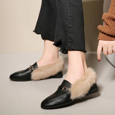 ZHR毛毛鞋秋冬外穿豆豆鞋女新款百搭加絨平底懶人兔毛樂福鞋