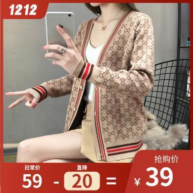 百依戀歌 新款韓版寬松單排扣外套毛衣針織開衫女 4169