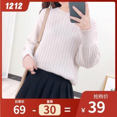 百依恋歌款毛衣女短款韩版宽松慵懒风很仙套头长袖针织衫女 4180