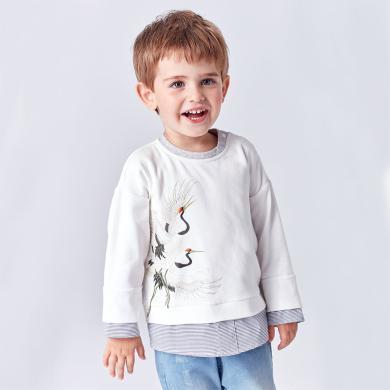 丑丑嬰幼 男寶純棉T恤春秋新款男童中國風長袖民族風上衣