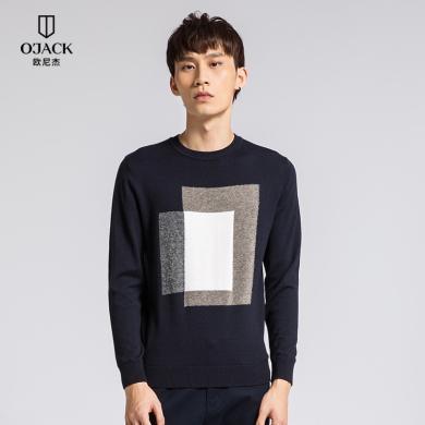 O'JACK/欧尼杰男装羊毛衫中青年男圆领套头拼接图案男上衣