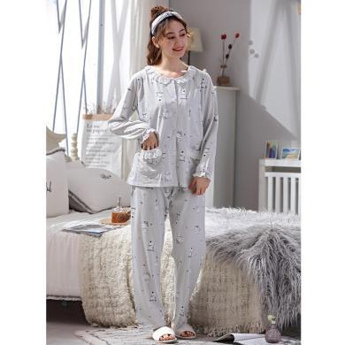 妃孕寶 孕婦睡衣產后月子服春秋裝新款大碼200斤加肥哺乳套裝家居服兩件套