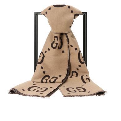 [支持购物卡](预售)Gucci/古驰 GG提花羊毛真丝围巾 495592(拍下之日起预计10至20个工作日内寄出)