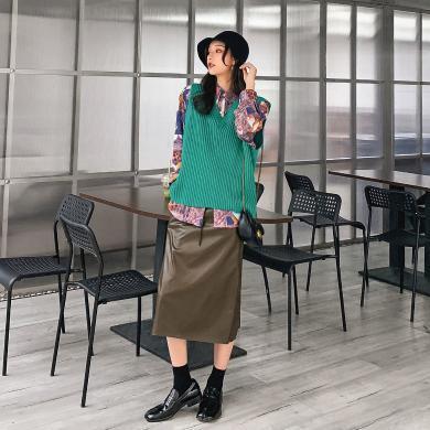 七格格針織毛衣馬甲女秋冬季氣質2019新款韓版寬松背心馬夾外套潮