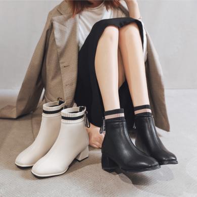 MIJI時尚新款秋冬季百搭英倫風粗跟網紅靴子女加絨中跟氣質AI8-13320