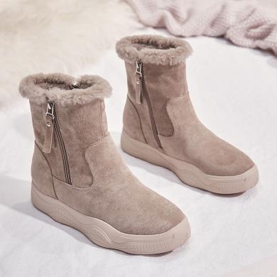 森馬短筒雪地靴女2019新款時尚短靴冬季粗跟女鞋靴子加絨加厚保暖棉鞋LP-1116